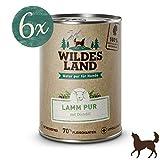 Wildes Land | Nassfutter für Hunde | Lamm PUR | 6 x 400 g | mit Distelöl | Getreidefrei & Hypoallergen | Extra hoher Fleischanteil von 70% Akzeptanz und Verträglichkeit