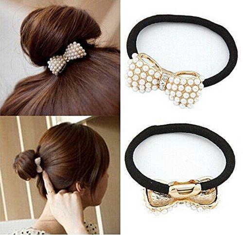 cuhair (TM) 4 pièces complet Pearl Bow Nœud femmes fille queue de cheval élastique Accessoires cheveux de corde en caoutchouc