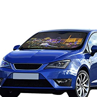 SHAOKAO Cartoon Car Sun Shade Las Vegas Avenue Nevada Usa Night Foldable Sunshade For Maximum Uv And Sun Protection Keep Your Vehicle Cool 55 X 30inch (140cm X 75cm) Car Shade Window