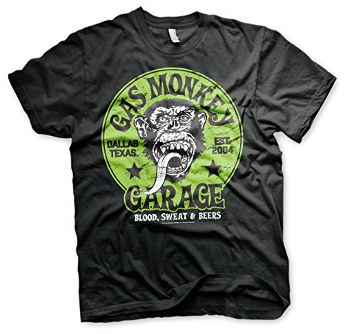 Gas Monkey Garage Offizielles Green Logo 3XL,4XL,5XL Herren T-Shirt (Schwarz), 3X-Large