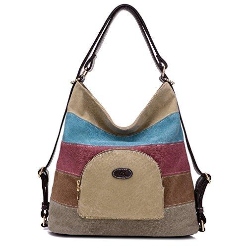 Damen Handtasche,Canvas Damen Stripe Stylisch Schultertasche Elegante U Khaki