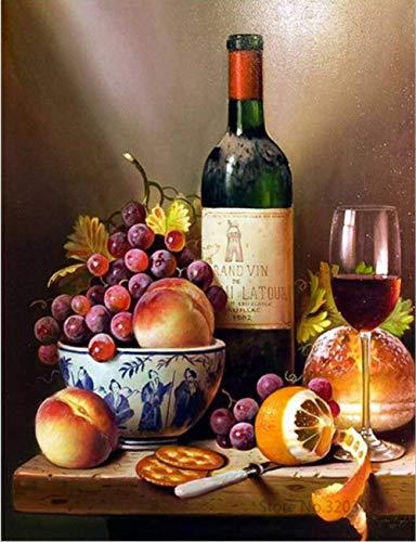 laonieshangmao DIY malen nach Zahlen Wein Obst acryl malerei Moderne Bild wohnkultur für Wohnzimmer a 4 Gürtelrahmen 40x50 cm - Wein Antik