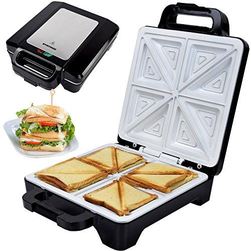Syntrox Germany 1600 Watt XLC Sandwichmaker mit Keramikbeschichtung zur Herstellung von 4 Sandwiches gleichzeitig
