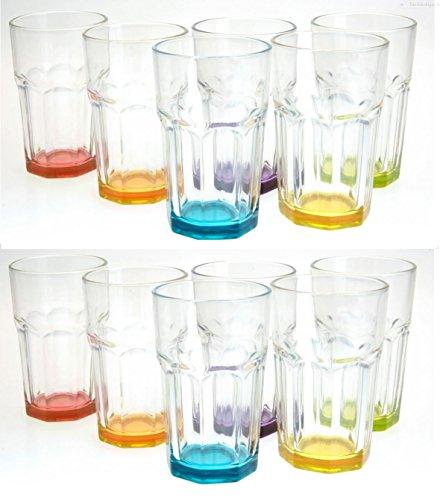 Trinkglas Cocktailglas Caipirinha Glas Transparent oder Farbig sortiert 300 ml, Stückzahl:12 Stück, Farbe:Mehrfarbig sortiert