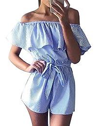 Yidarton Femme Combinaison Sans Bretelles Sans Manches Feuille De Lotus Bleu Marin Rayé Combinaison De Short