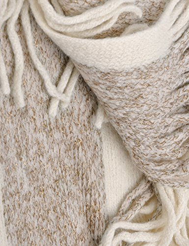 Zlyc da donna Leggero scialle Golden Trim strutturato Knit coperta avvolgente frangia poncho con visiera a contrasto White