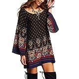 Sunnywill Long Sleeve Vintage Party Strand Kleid Lässig Vestidos für Mädchen Damen (XL)