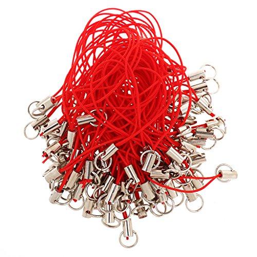 Sharplace 100 Stück Handykette Handyanhänger Handyband Handyschmuck farbe auswahl – Rot