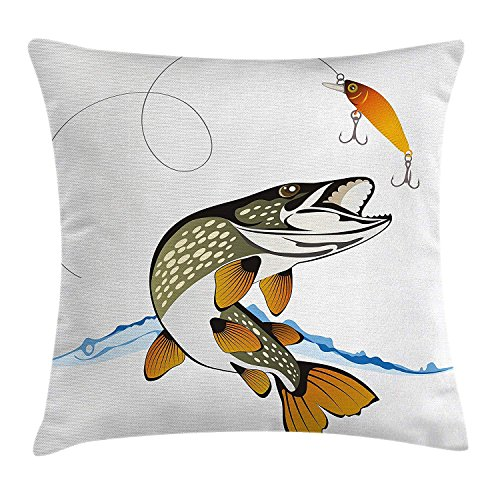 ZHIZIQIU Fishing Decor Throw Pillow Cushion Cover by, Pike Out of Water Splash to Catch The Trap Lure Tackling Marine Life Illustration, Decorative Square Accent Pillow Case, 18 X 18 Inches, Multi -