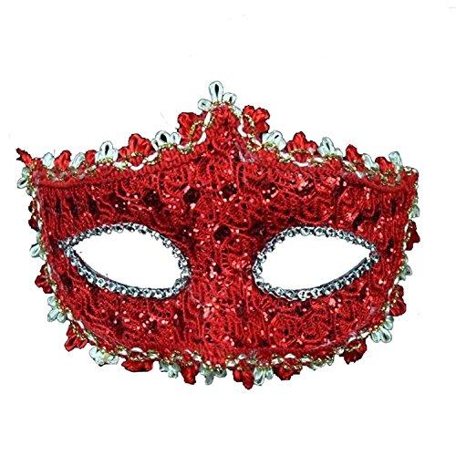 Putwo travestimento maschera di partito di per le donne con il merletto con i vestiti da partito del costume delle donne veneziane del rhinestone - rosso