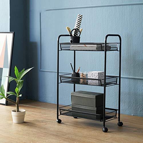 Stand MEIDUO 3/4 Tier-Gebrauchs-Wagen, Küchen-Lagerung mit rollenden Rädern, Metallmaschen-Draht-Korb-Laufkatze für Küchen-Badezimmer sehr langlebig (Farbe : SCHWARZ, größe : 3 Tier) -
