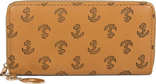 styleBREAKER Geldbörse mit All Over Anker Seil Prägung, maritimer Look, Reißverschluss, Portemonnaie, Damen 02040104, Farbe:Camel