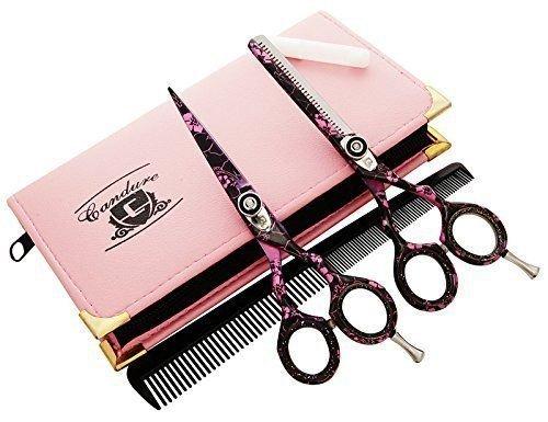 CANDURE® – friseurscheren – Haarschneideschere – Friseurschere set – Geschenk set Friseur & Dünner Werdendes Haar-Schere Friseur Schere + Scheren Tasche, Wabe