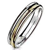 Autiga Ring Edelstahl Damen Herren Zweifarbig Bandring Bicolor Partnerring Ehering Silber-Gold-Rosegold 62 - Ø 19,76 mm