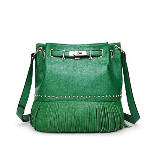 QPALZM Einfache Feste Mode Quaste Pumping Taschen Retro Schulter-Rucksack Green