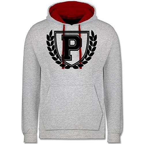 Anfangsbuchstaben - P Collegestyle - Kontrast Hoodie Grau Meliert/Rot