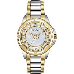 Bulova Ladies Women's Designer Diamond Watch - Two Tone Gold Fashion Wrist Watch 98S140