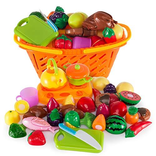 Ulikey 21 Stück Küchenspielzeug Schneiden Obst, Küchenspielzeug für Kinderküche - Lebensmittel Spielzeug Set mit Korb, Kinder Pädagogisches Lernen Spielzeug Rollenspiele Küchenspielzeug (Spiel-essen Schneiden)