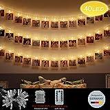 LED Foto Clips Lichterketten, Looyat 40 Photo Clips 5M Fernbedienung Batteriebetriebene Dimmbare Foto-Display Starry Lampe mit 8 Modi, für Hang Pictures Karten