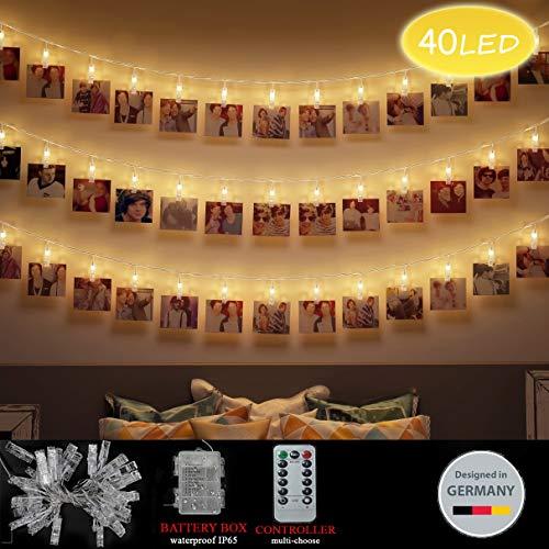 LED Foto Clips Lichterketten, Looyat 40 Photo Clips 5M Fernbedienung Batteriebetriebene Dimmbare Foto-Display Starry Lampe mit 8 Modi, für Hang Pictures Karten - Akzente Auf Dem Computer