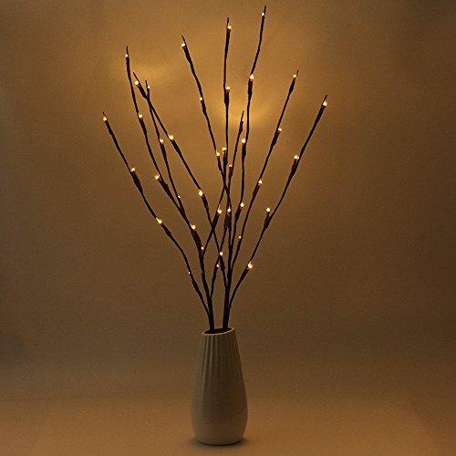 BLOOMWIN 2pcs luces LED blanco cálido ramas forma de árbol 20 LED decorativas luces de rama lámpara de pie IP44 77CM Alto para el florero, mesa, sala de estar, dormitorio, hotel, restaurante
