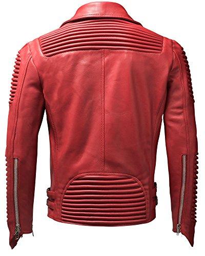 Crone Herren Lederjacke Echtleder Premium Biker Jacke mit vielen Details und Zippern 100% bestes echtes Schafs-Leder in 3 Farben Red