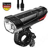 Fahrrad Licht USB Wiederaufladbare, LED Fahrradbeleuchtung StVZO Zugelassen Frontlicht, Fahrradlichter für Radfahren MTB Rennrad, Wasserdicht Fahrradlampe Taschenlamp (Schwarz)