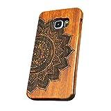 forepin reg; Natur Holz Hülle Handyhülle Echtem Schutz Schale Hart Cover Case Etui für Samsung Galaxy S6 Edge, Wood Handy Schalen - Mandala