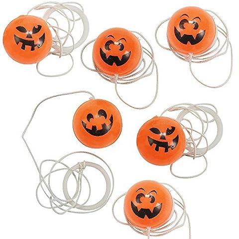 Halloween Rubber Jack o Lantern Pumpkin Return Ball Games Party Favor Packs - 48 pieces