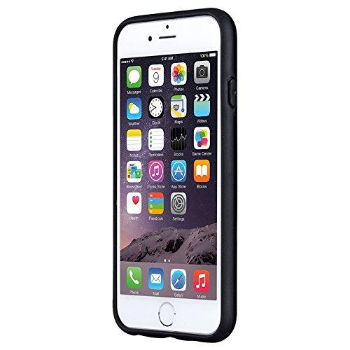 iPhone 6 / iPhone 6S Hülle, Yokata 2 in 1 Cover 2 Layer Hybrid Case Innere Weich TPU Silikon Backcover mit Hart PC Rüstung Armor Case Schutz Anti-stoß Schutzhülle + 1 x Kapazitive Feder Schwarz