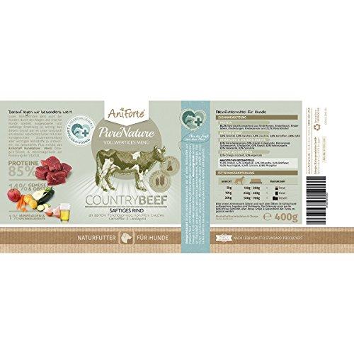 AniForte® PureNature Nassfutter 5+1 getreidefrei Probierpaket 6x400g Huhn Büffel Wild Lamm Rind Hundefutter- Naturprodukt für Hunde - 2