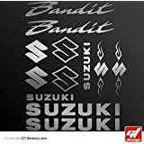 Pegatinas Suzuki Bandit–Plata–Tabla 12pegatinas, GT-DESIGN