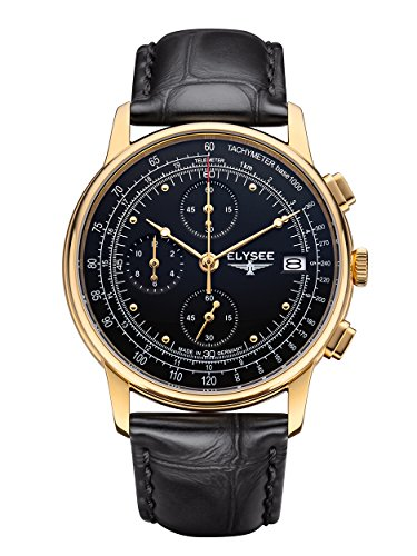 Elysee Unisex Erwachsene Analog Quarz Uhr mit Leder Armband 11012 - Heritage Produkte Rose