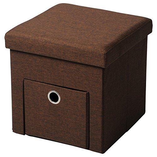 Woltu sh07br-1 sgabello sedia a cubo pouf pieghevole cassapanca poggiapiedi contenitore con cassetto mdf stoffa lino marrone