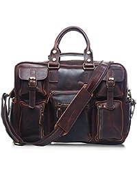 ae4fe0d7a0 Jeffrey Godwin Men's Messenger Bag Vintage Leather Briefcase Satchel  Shoulder Crossbody Handbag Fit 15