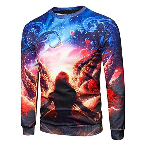 TIFIY Männer Herbst 3D Gedruckt Langarm-Sweatshirt Kausalen O-Neck Hipster Tops Graphics Tees Grundlegende Streetwear Bluse (Hipster Gedruckt)