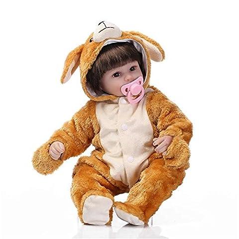 Weiche Cartoon tragen junge Reborn Baby Puppe 43 cm 17'' Soft Silikon Baby Alive Puppe angefüllte Spielwaren für Kinder geburtstag Weihnachtsgeschenke, braunen Augen?17 Zoll ca. 43 cm für Patienten mit (Weihnachten Angefüllte Spielwaren)