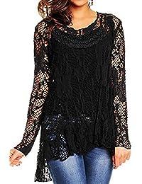 R33 CelebModeLook ® New Womens Ladies Dip Hem Crochet Mesh Tunic Plus Size Vest Twin Top Italian Lagenlook Lace Tunic Long Sleeve Dress.
