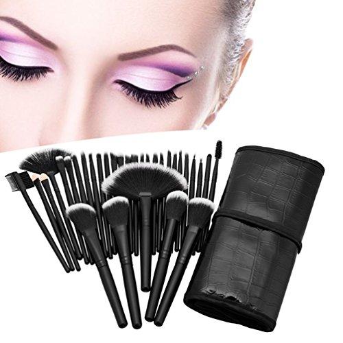 Pinceaux de maquillage professionnel Set 32pcs Kit cosmétique sourcils visage Joue Blush (Couleur: Noir)