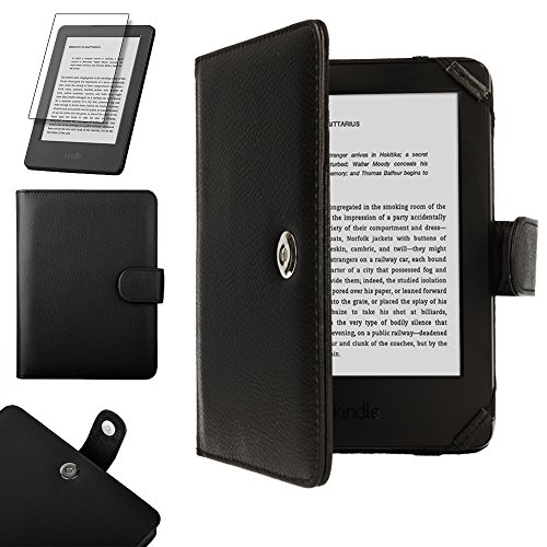 TECHGEAR® Kindle PU Leather Folio Case Cover with Magnetic Clasp for Amazon Kindle eReader with 6 Inch Screen [Book Style] * * With FREE SCREEN GUARD Included * - Eink-cover Kindle