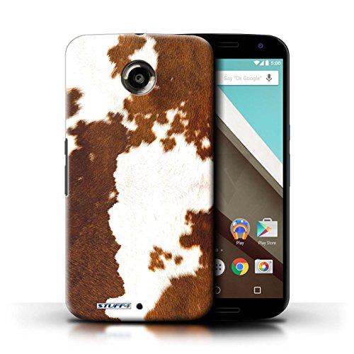 Kobalt® Imprimé Etui / Coque pour Motorola Nexus 6 / Tigre conception / Série Motif Fourrure Animale Vache/Brown