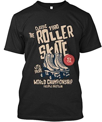 Stylisches T-Shirt Damen / Herren / Unisex L Roller-Skate Schwarz (Günstige Roller-skates)