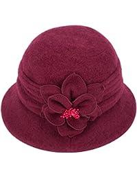 Eleganter, klassischer Damenhut, Cloche, weiche Wolle, mit Blumenapplikation, Winterhut