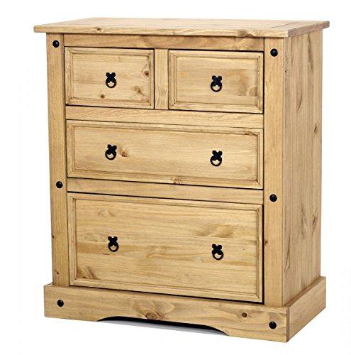 Furniturevilla Corona Brust 2+ 2Schublade Breit, 920W x 485D X 1050h, Massiv Gewachst Pinie Hell, Antik Messing Griffe, Schlafzimmer-Möbel