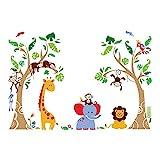 decalmile Stickers Muraux Arbre et Animaux de la Jungle Autocollant Décoratifs Singe Girafe Éléphant Décoration Murale Chambre Enfants Bébé Pépinière