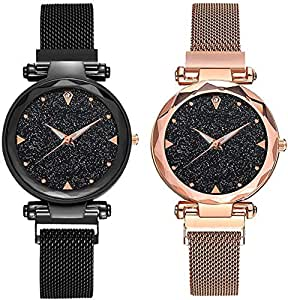 KDENTERPRISE Analogue Casual Designer Magnet Analogue Quartz Movement Black dial Wrist Watches for Women Girls Pair of 2…