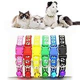 Blue Vessel 12 Stück Hundehalsbänder Katze Kragen Pet Puppy Nylon Schnalle Kragen mit Bell 6 Farben