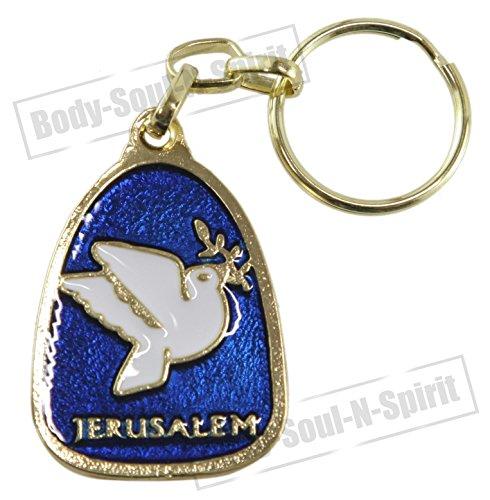Body-soul-n-spirit - décoration murale Porte clés amulette Jerusalem dorée Porte Bonheur d'Israël Colombe de la Paix