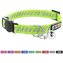 Pawtitas Collar de gato / mascota trafico reflectivo con hebilla de seguridad y campana color Verde
