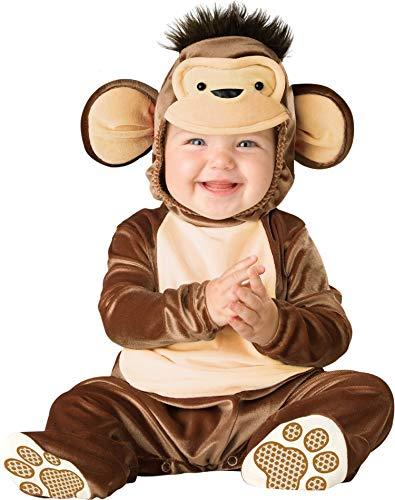 0 Kostüm Affe 3 Monat - Fancy Me Deluxe Baby Mädchen Jungen Spitzbübisch AFFE Tier Halloween Charakter Kostüm Kleid Outfit - Braun, 0-6 Months, Braun